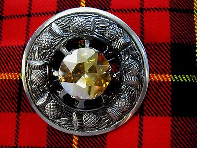 """NEW Large Scottish Yellow Stone 3"""" Brooch Antique Finish Kilt Fly/Piper Plaid"""