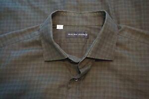 Ralph-Lauren-Black-Label-Green-Plaid-100-Cotton-Button-Up-Shirt-Sz-XL