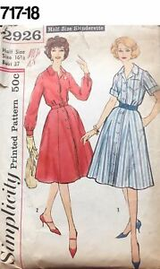1344f8cb47a93 VTG 1960s Sewing Pattern Simplicity #2926 Size 16-1/2 Bust 37 Shirt ...