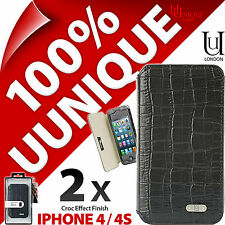 2 x Uunique Croc Folio Case Cover for iPhone 4 / 4S Hard Shell Protective Flip