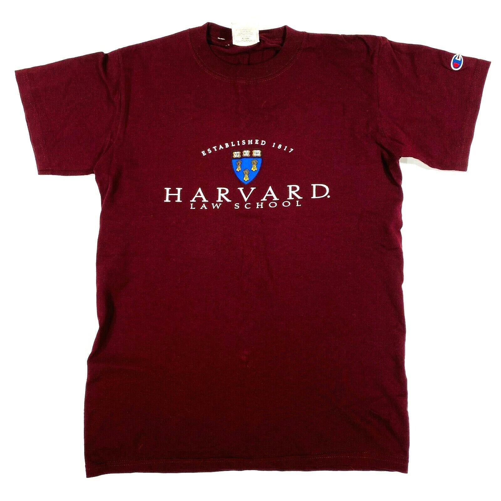 Champion Vintage 90s Harvard Law School Maroon T-Shirt College Men's Size Small 2