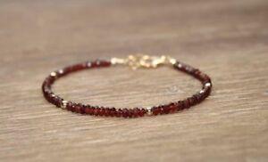Natuerlicher-Granat-facettierte-Edelstein-Armband-14k-Gold-ueber-Perlen-Verschluss