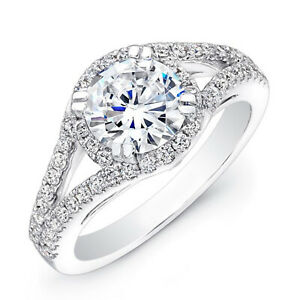 1.34 Ct Solitaire Moissanite Engagement Ring 18K Solid White Gold ring Size 6