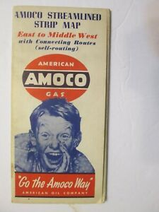 Amoco Streamlined Strip Map East to Middle West with Connecting Routes 1940