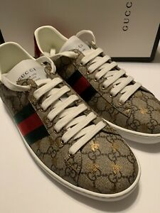 NEW-GUCCI-MEN-039-S-ACE-GG-SUPREME-BEES-SNEAKERS-SIZE-G12