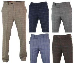 Mens-Herringbone-Tweed-Check-Peaky-Blinders-Trousers-Wool-Vintage-Classic-Retro