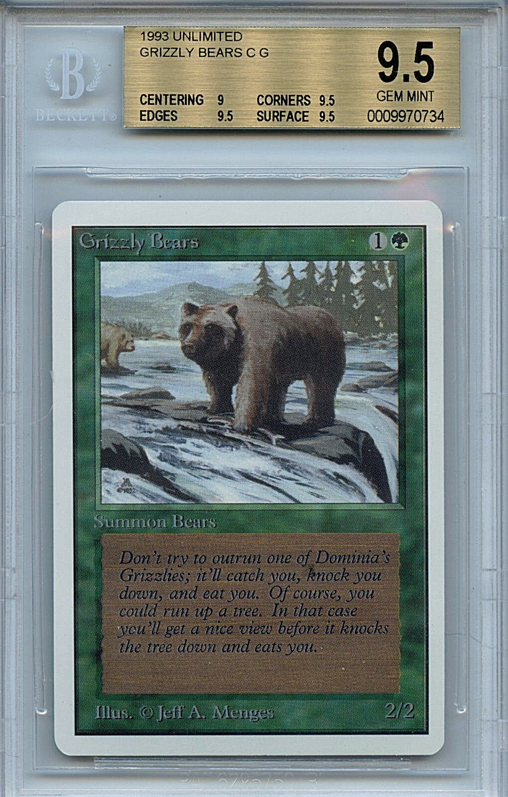 MTG Unlimited Grizzly Bears BGS 9.5 Gem Mint Card Magic the Gathering WOTC 0734