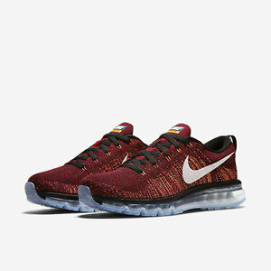 watch 5c8d1 5bcd3 Image is loading NIKE-FLYKNIT-MAX-Black-Red-Bright-Citrus-Summit-