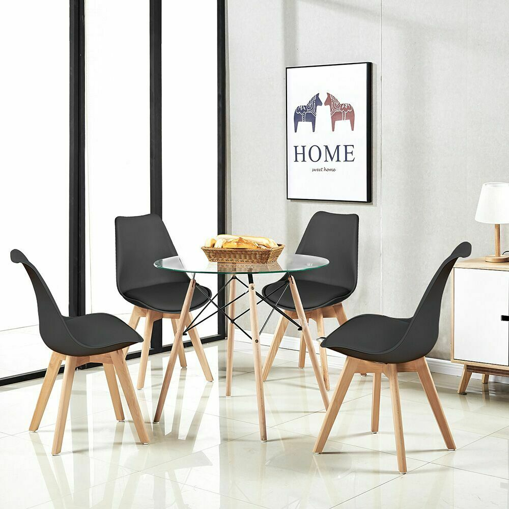 4 x Retro Dining Chairs and Round Glass Coffee Table For ...