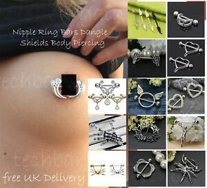 Surgical-Fangs-Nipple-Ring-Stainless-Steel-Jewellery-Body-Bar-Piercing-Dangle-UK