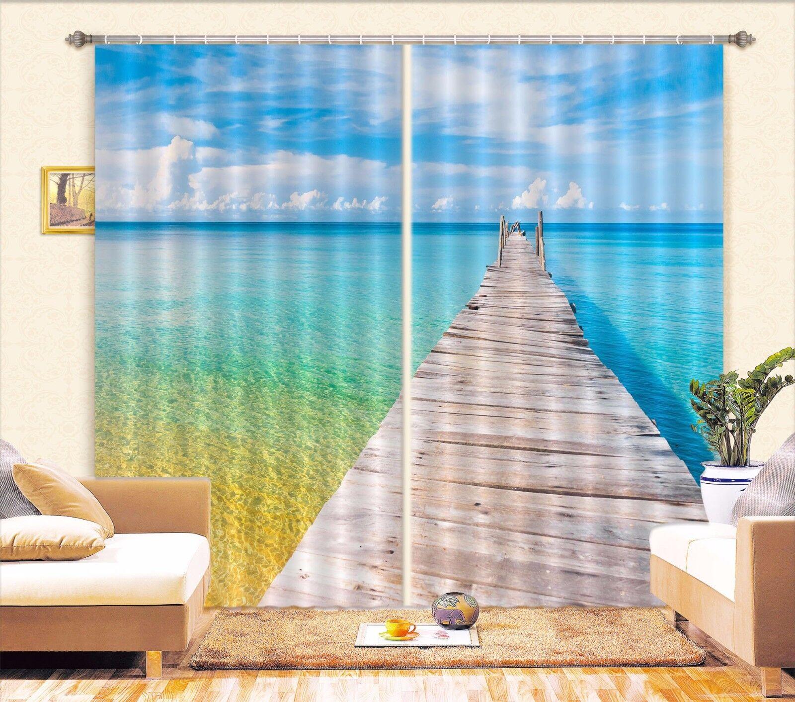3D Mar Azul 209 Cortinas de impresión de cortina de foto Blockout Tela Cortinas Ventana Reino Unido