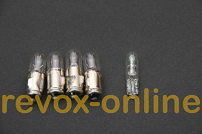 Lampen, lamps,1 Satz für Revox A77 MKIII, 4*36V 50mA, 1 *24V 30mA, Neuware 5 St