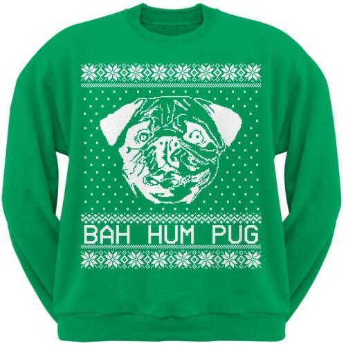 Bah Hum Pug Ugly Christmas Sweater Green Adult Crew Neck Sweatshirt
