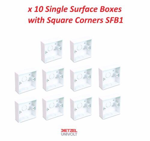 10x UNIVOLT SURFACE BOX SQUARE CORNERS WHITE PVC SINGLE SFB 1 TRUNKING PATTRESS