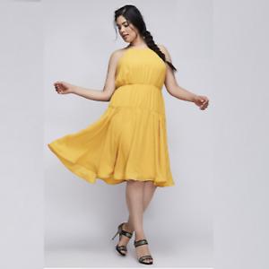 LANE BRYANT 6TH & LANE FLARE DRESS Mustard Yellow Plus Size 28 4X  108 NWT