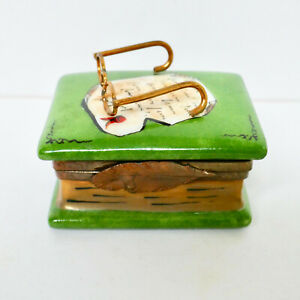 Limoges Book With Glasses Trinket Box Feather Clasp Hinged Hand Paint France Vtg