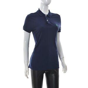 Details about Ralph Lauren Women's ladies Polo T-Shirt Short Sleeve 2-Button Navy Blue M top