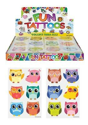 Lot of 12 cute owl temporary children/'s tattoos birthday party favor goody bags