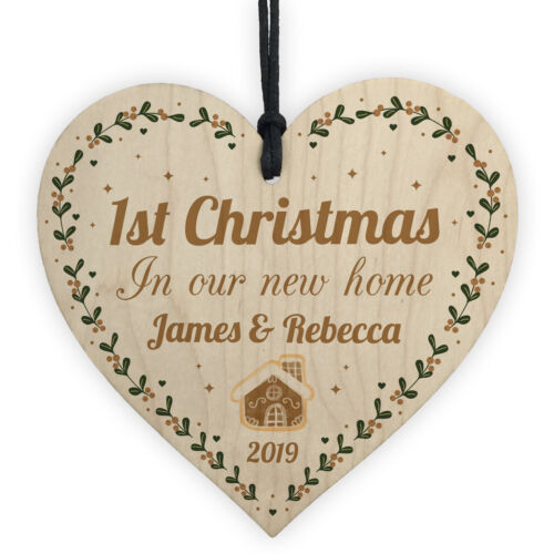 PERSONALISED First 1st New Home House Tree Christmas Decoration Wood Bauble