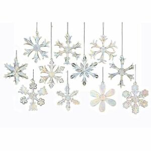 NEW-Kurt-Adler-2-Glass-Iridescent-Snowflake-Ornaments-12-Piece-Set