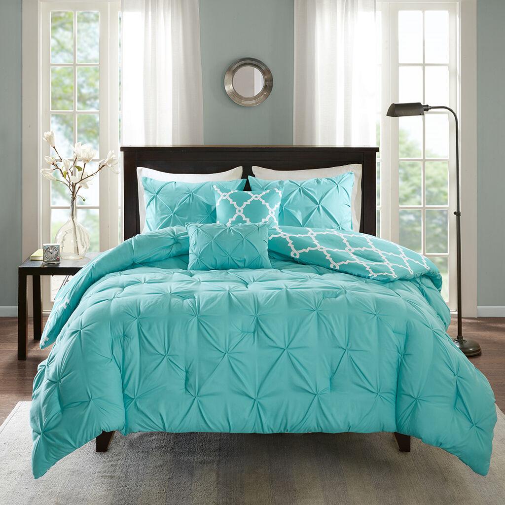 New Geometric Tufted Reversible Aqua grau Comforter Shams 5 pcs Cal King Queen