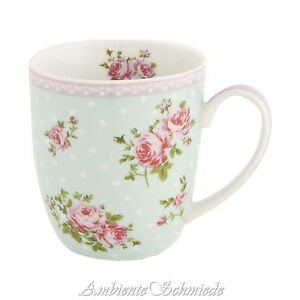 clayre eef kaffeebecher rosali 300m rosen tasse rosa blau geschirr shabby chic ebay. Black Bedroom Furniture Sets. Home Design Ideas
