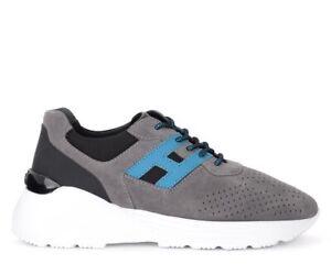 Sneaker-Hogan-Active-One-in-suede-grigia-e-H-azzurra