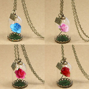 Beauty and the beast wish dried flower rose glass bottle necklace image is loading beauty and the beast wish dried flower rose mozeypictures Choice Image