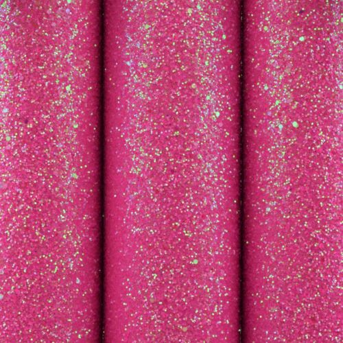 Chunky Neon Glitter Fabric A4 Or A5 Sheets Faux Leather For Books Bows /& Crafts