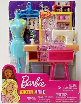 Barbie You Can Be Anything New Fashion Designer Sewing Studio Playset Dress Form 887961696967 Ebay