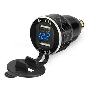 2-1A-LED-DUAL-USB-Presa-per-BMW-MOTO-ACCENDISIGARI-12V-24V-EU-spina