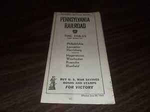JUNE-1943-PRR-PENNSYLVANIA-RAILROAD-FORM-41-PUBLIC-TIMETABLE