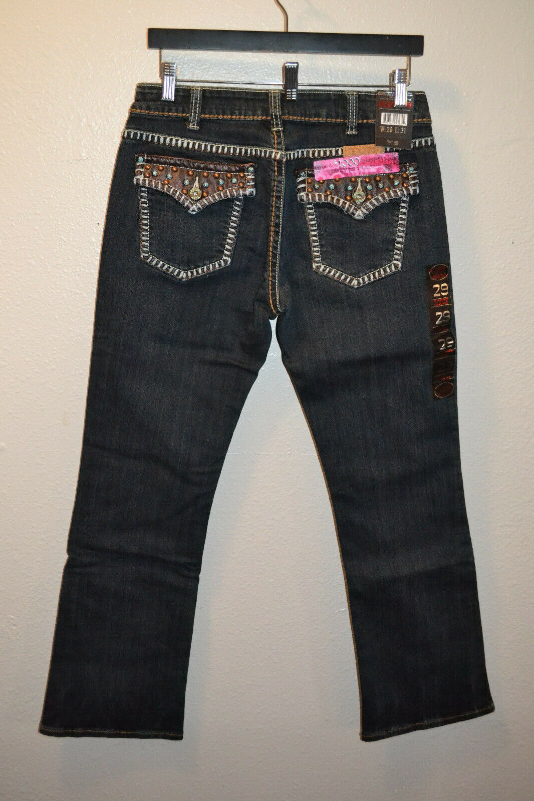 Cowgirl Tuff Jeans 29x31 Girls Night Out Brown Midrise Bootcut Dark Wash Western