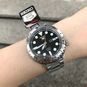 SRPC61K1-Automatic-Black-Day-amp-Date-Dial-Silver-Steel-Watch-for-Men