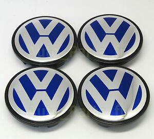 4 caches jante moyeux centre de roue boulon vw golf touran passat 65mm bleu ebay. Black Bedroom Furniture Sets. Home Design Ideas