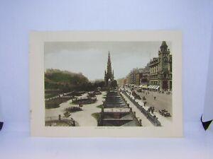 Old-vintage-antique-colour-print-Edinburgh-Princes-St-Scotland-27-x-19-cm