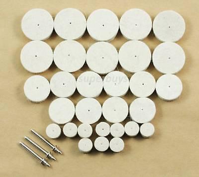 6pc Round Wool Wheel Polishing Buffer Buffing Brush Dremel Polish Drill Bit Tool