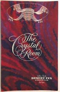 1970's Vintage Menu Desert Inn Crystal Room Restaurant Las Vegas Nevada