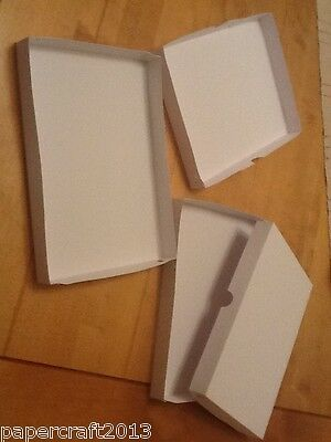 A5 WHITE GIFT GREETING CARD JEWELLERY BOX DVDS  no glueing self assembly 300gsm