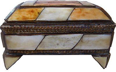 Moroccan Camel Bone Jewelry Box 05 Brass Rectange Henna Natural GREAT GIFT IDEA