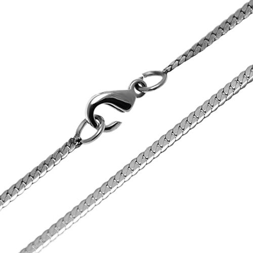 Stainless Steel Necklace for Ladies with Twisted Flattened Links 2 mm Wide Chain