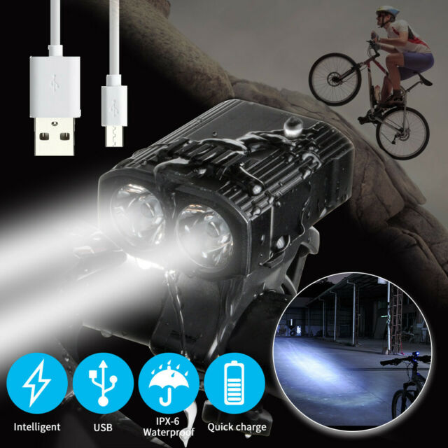 Solar Powered Bicycle Front Light Waterproof USB Rechargeable Torch Bike Horn