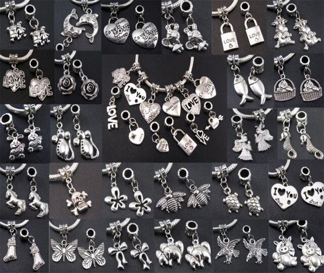 Lots Tibetan Silver Charms Dangle Beads Fit Bracelet Snake Chain Free ship DIY #