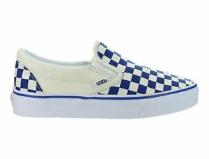 Vans-Classic-Slip-On-Primary-Check-True-Blue-White-Skate-Shoes-Womens-Size-6-5
