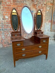 ANTIQUE EDWARDIAN INLAID MAHOGANY DRESSING TABLE WITH THREE MIRRORS - CHEST