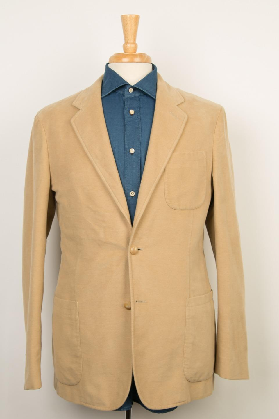 31a2b8bab Boglioli NWT Solid Camel Beige Soft 2 Button 100% Cotton Sport Coat 48 IT 38