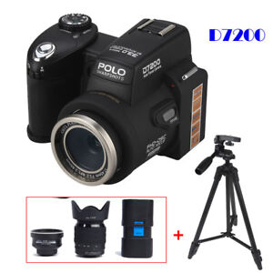 POLO-D7200-33MP-Digital-Camera-DSLR-Camcorder-DV-Telescope-LED-Sportlight-Tripod