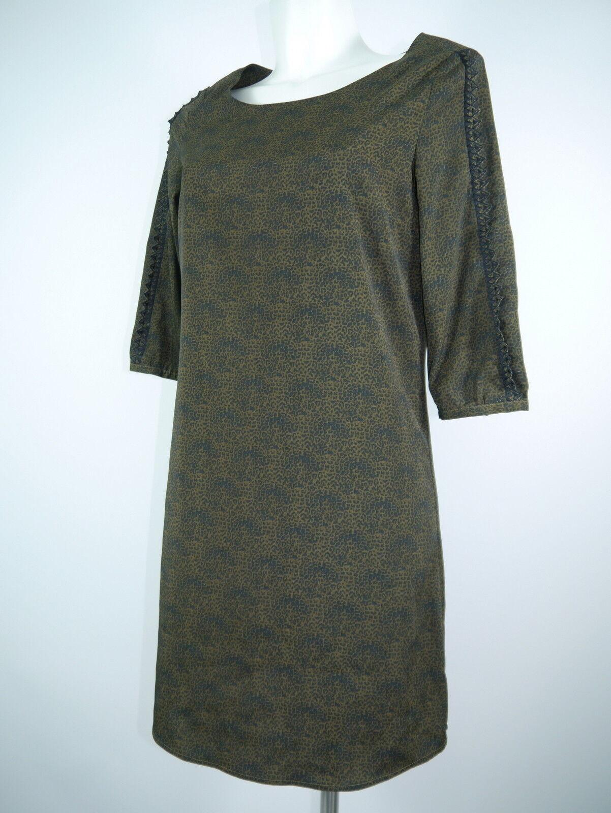 Maison Scotch Da.Kleid 3 4 Arm Leo-Print braun Rücken Knöpfe Gr.S NEU
