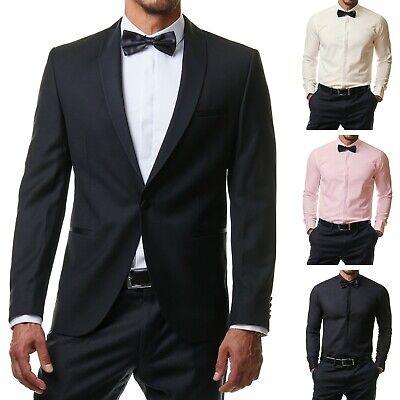 Herren Hemd Anzug Smoking Business Slim Fit Hochzeit + Fliege Manschetten S 2XL | eBay