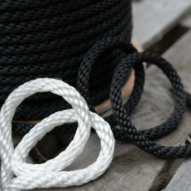 "dock line 1//4/""  X 100/' BLACK Multifilamant POLY ROPE Made in USA anchor rope"